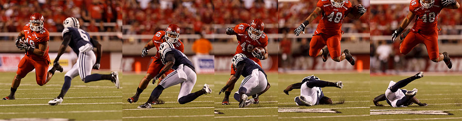 Utah fullback Max Moala (48) leaps over Brigham Young defensive back Jordan Johnson (6) as Utah hosts BYU college football in Salt Lake City, Utah, Saturday, September 15, 2012