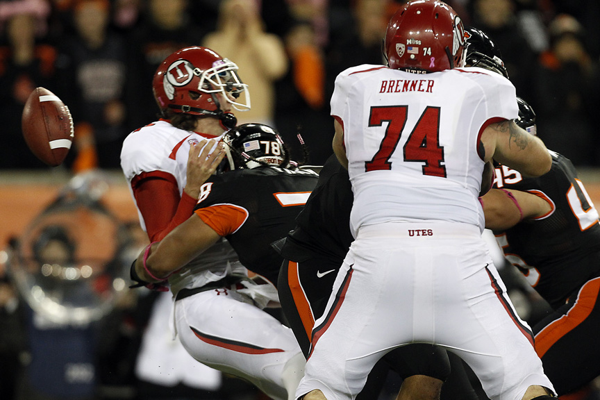 Utah Utes quarterback Travis Wilson (7) is sacked by Oregon State Beavers defensive end Rudolf Fifita (78) and fumbles the ball during the first half of the game at Reser Stadium Saturday October 20, 2012. Oregon State is winning the game 14-7.