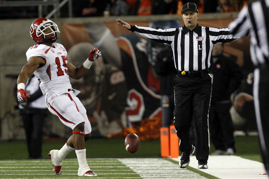 Utah Utes running back John White (15) reacts after not catching a pass during the first half of the game at Reser Stadium Saturday October 20, 2012. Oregon State is winning the game 14-7.