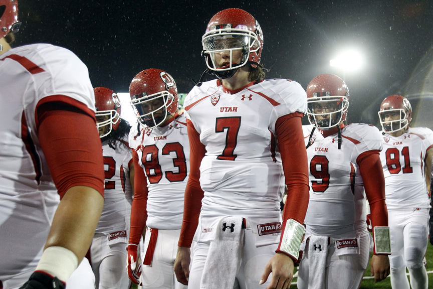 Utah Utes quarterback Travis Wilson (7) walks off of the field after the game at Reser Stadium Saturday October 20, 2012. Oregon State won the game 21-7.