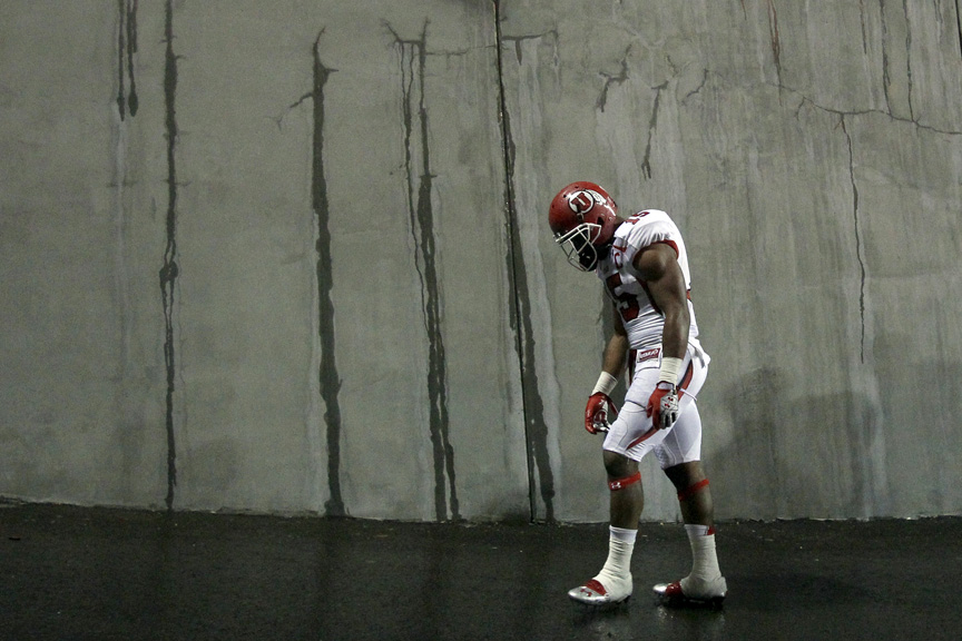 Utah Utes running back John White (15) walks off of the field after the game at Reser Stadium Saturday October 20, 2012. Oregon State won the game 21-7.