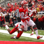 Delshawn McClellon scores a touchdown during the University of Utah&#039;s Red-White Spring football game, Saturday April 20, 2013 in Salt Lake City.