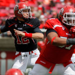 Quarterback Adam Schulz during the University of Utah&#039;s Red-White Spring football game, Saturday April 20, 2013 in Salt Lake City.
