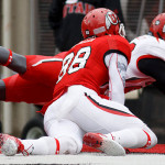 Mo Talley recovers a fumble in the end zone during the University of Utah&#039;s Red-White Spring football game, Saturday April 20, 2013 in Salt Lake City.